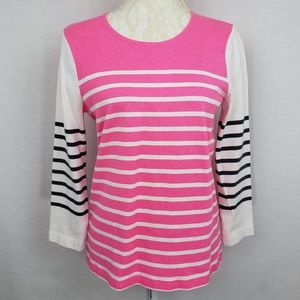 J.Crew Pink White Striped Long Sleeve Top